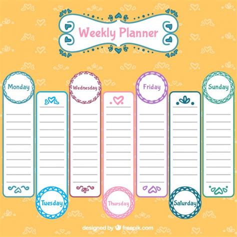 daily planner template ai lovely weekly planner design vector free download