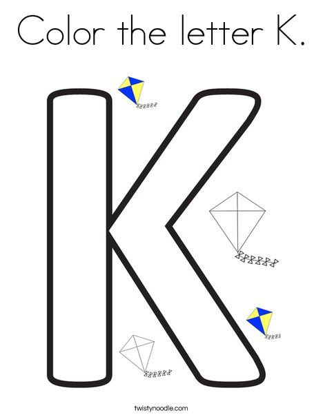 k color color the letter k coloring page twisty noodle