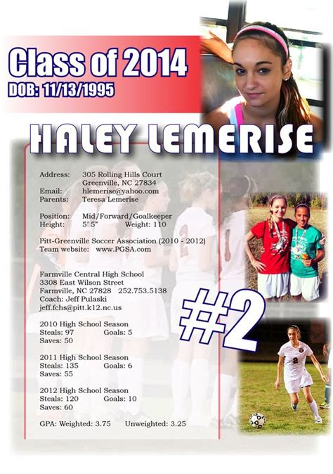 college recruiting profile template soccer resume sports resumes recruiting flyers