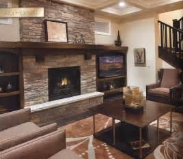 natural stone fireplace with mantel trinity