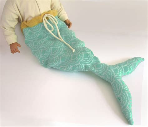 Handmade Mermaid Tails - mermaid baby costume pale print handmade knitted
