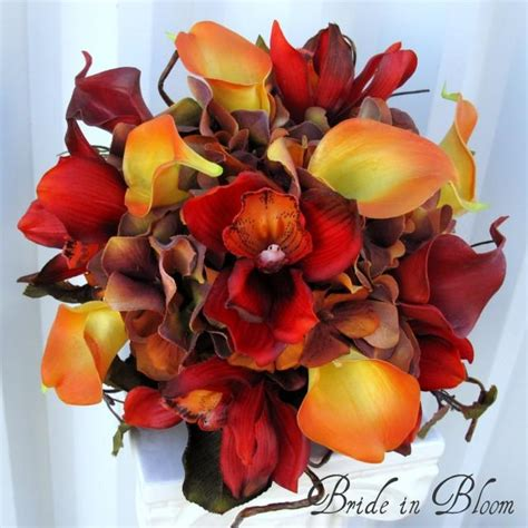 Autumn Silk Wedding Flowers by Autumn Wedding Bouquet Bridal Bouquet Real Touch Orchids
