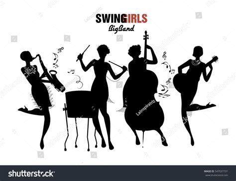 Big Band Swing Jazz by Orchestra Big Band Four Stock Vector 547037731