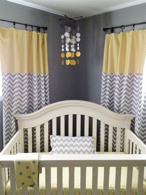 Baby Nursery Decor Smoke Gray And Yellow Circles Babies Gray Curtains For Nursery