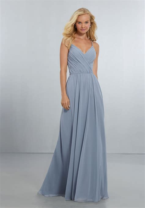 And Bridesmaid Dresses by Chiffon Bridesmaids Dress With Draped V Neck Bodice And