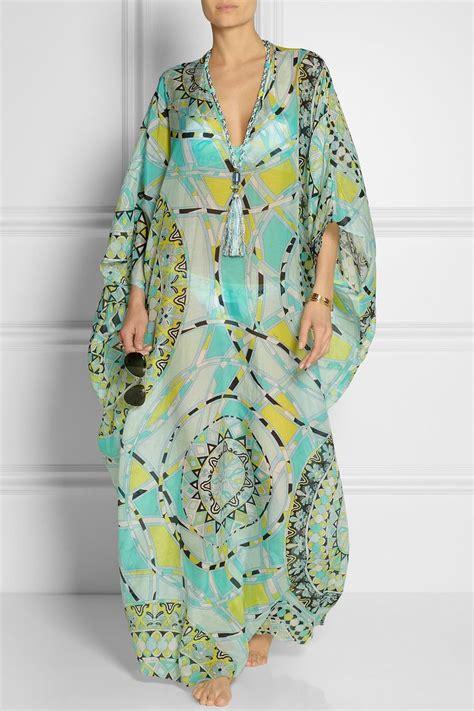 Kaftan Molly Brukat Dress Silk Gamis Maxi emilio pucci printed cotton and silk voile kaftan net