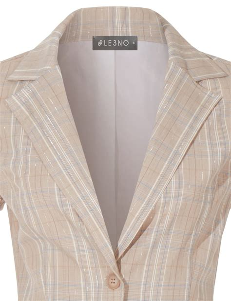 Wst 13655 Layer Sleeved Top Beige le3no womens fully lined 3 4 sleeve open front tuxedo