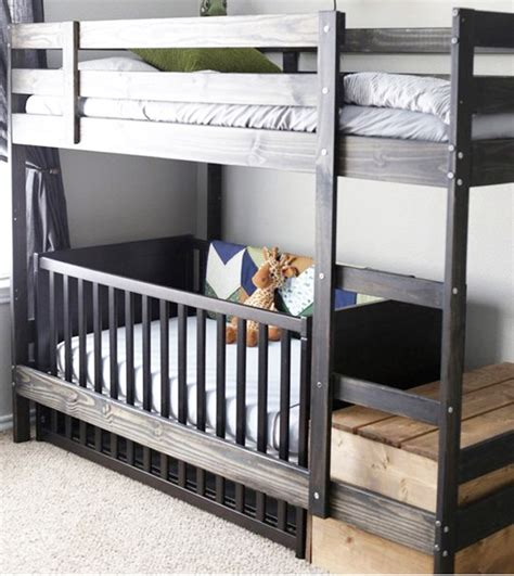 Bunk Bed With Crib On Bottom 14 Ikea Hacks For Babies Nursery Add A Crib Cot Underneath The Bunk When Bub Comes Along
