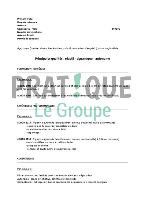 Lettre De Motivation De Frigoriste cv frigoriste exemple