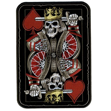 king death skull playing card 4 inch mc biker