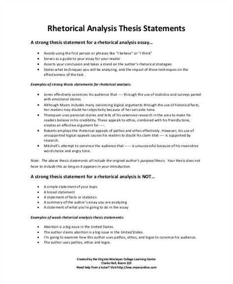 sle rhetorical analysis thesis statements thesis statement template 9 free pdf word documents