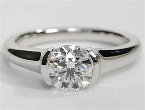 Half Bezel Solitaire Engagement Ring   Engagement Ring Wall