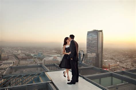 best wedding photography locations los angeles downtown los angeles rooftop high rise engagement photography helicopter pad engagement