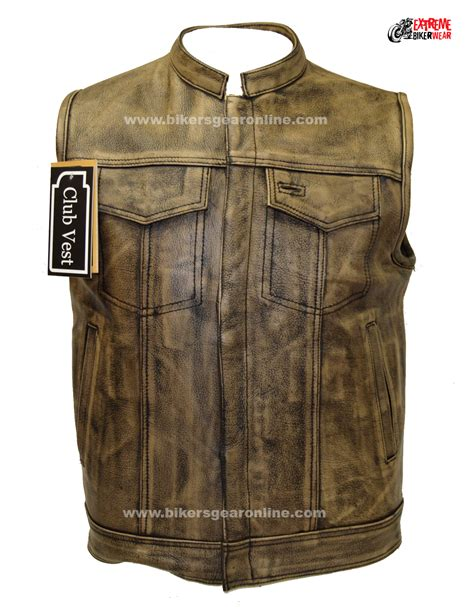 mens leather motorcycle vest motorcycle jacket brown jacket to