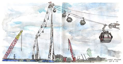 deco cable car lineandwash flying across the thames