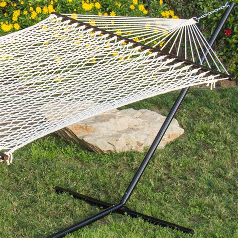 hammock 59 quot cotton double wide solid wood spreader outdoor