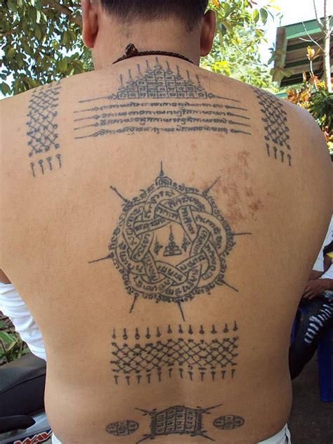 sak yant thai temple tattoos back tattoo in progress