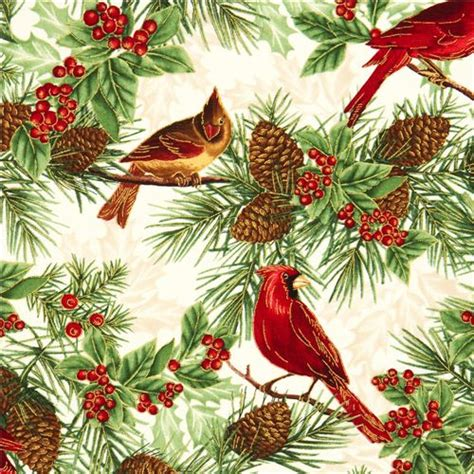 wallpaper christmas material beige timeless treasures christmas fabric birds fir cone