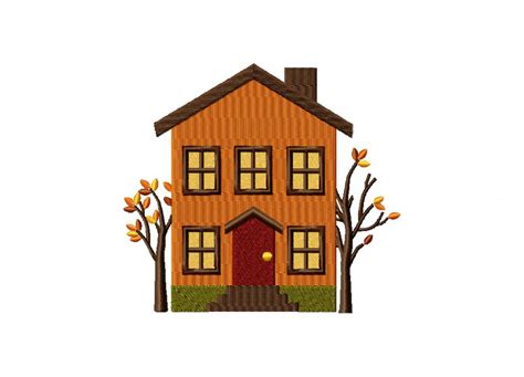 embroidery design house autumn house two trees machine embroidery design daily