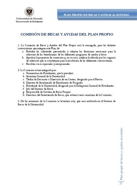 beca comedores ugr vicerrectorado de estudiantes gt plan propio de becas 2013