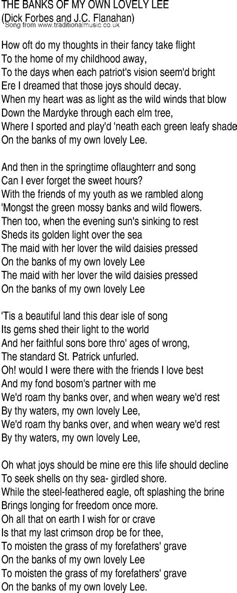my lyrics song and ballad lyrics for banks of my own