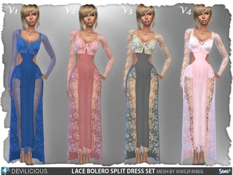 Bt9551 White Nicky Lace Set lace bolero split dress set by devilicious at tsr 187 sims 4