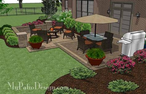Patio Designs Rectangular Overlapping Rectangle Patio Design With Seat Wall