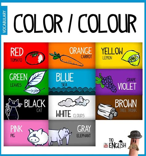 color vocabulary colors in name in of colours initial