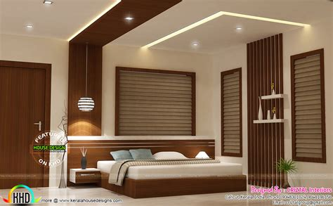 bedroom dining hall and living interior kerala home