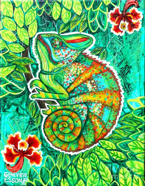 Chameleon With Orchids Painting by Genevieve Esson