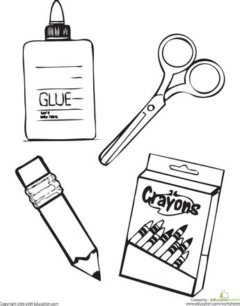 coloring page school things school supplies coloring page worksheets school and