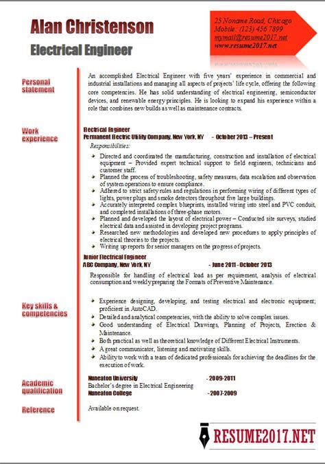 engineering resume format 2017 engineer 2017 resume exles