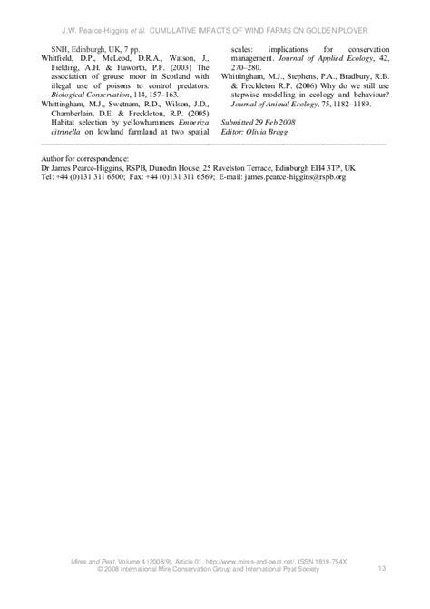 Pearce-Higgins et al. 2008. Assessing the cumulative