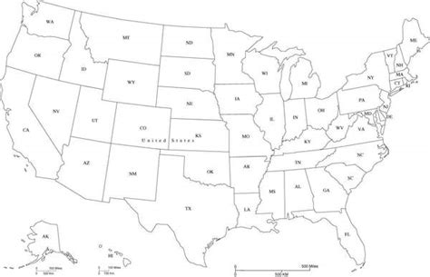 black and white map of the united states usa map with state abbreviations in adobe illustrator and