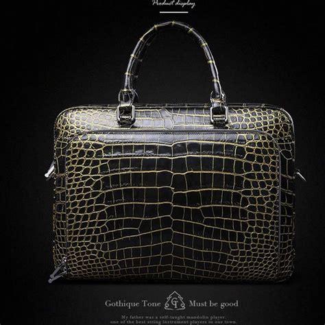 Bag Import Gold gete import crocodile belly bag leather handbag business bag 24 k gold crocodile leather