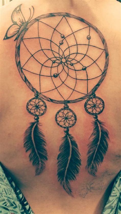 dreamcatcher tattoo with butterfly dreamcatcher butterfly 1 20 15 back piece wasn t too