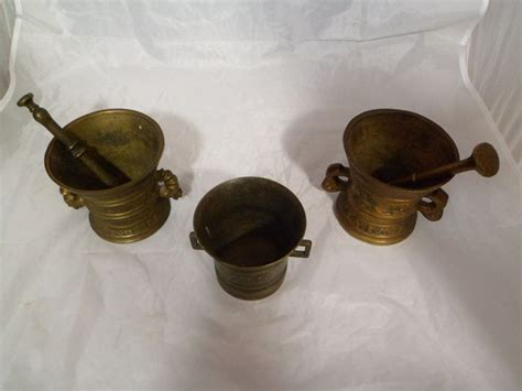 Koper Poli Omnia 3in 1 3 antieke apothekers vijzels in gegoten brons koper