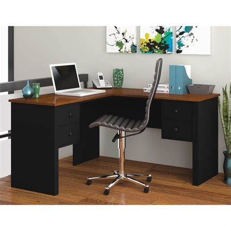 Home Office Desks L Shaped Bestar Somerville L Shaped Black Tuscany Brown Home Office Desk Ebay