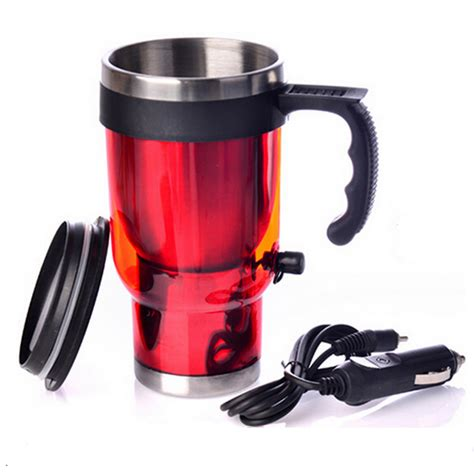Elektric Heating Cup 13cm car heating cup 12v 450ml coffee electric mug with cigarette lighter and blues steel travel