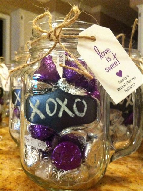 Jar Bridal Shower Favors by Bridal Shower Favors Jar Mugs W Hershey Kisses Is Sweet Tag Display On Table With