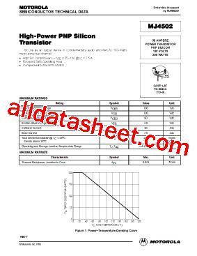 transistor mj15023 datasheet mj4502 datasheet pdf motorola inc