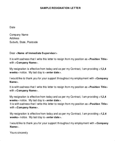 simple resignation letter templates ms word