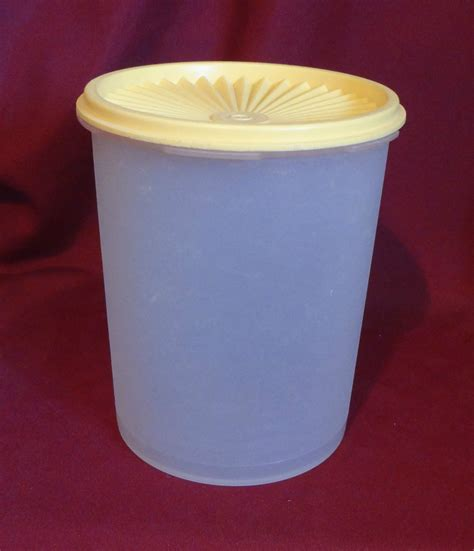 Tupperware Vintage Canister tupperware servalier canister vintage white with yellow
