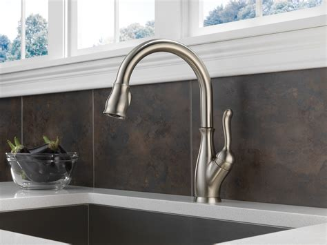 delta brushed nickel kitchen faucet delta leland kitchen faucet brushed nickel