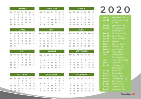 printable calendars monthly  holidays yearly templatelab