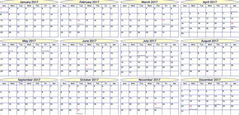 2017 printable calendar pdf or excel icalendars net