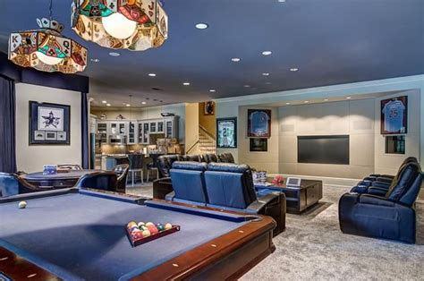 man cave sports fanatic pool table  theater seating