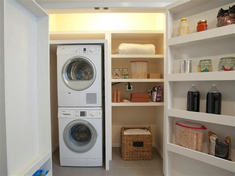 laundry rooms storage and doors a stacked washer and dryer allows le room for