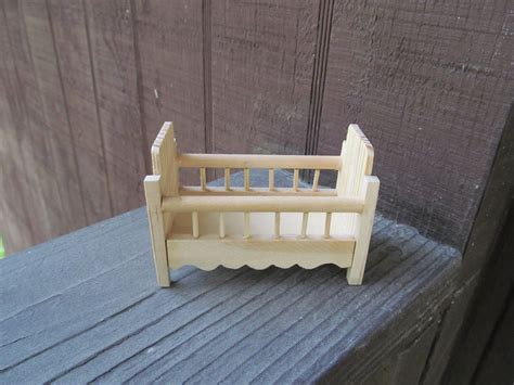 set of 2 vintage mini wood cribs for baby shower favors or