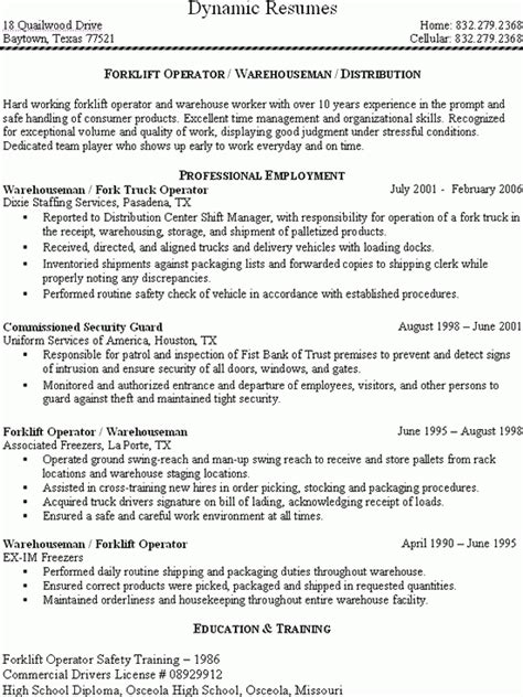 28 certified forklift operator resume mechanic resume